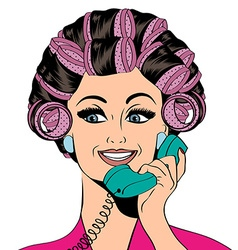 Woman with curlers in their hair talking at phone vector