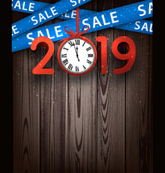wooden sale 2019 background with red clock and vector image