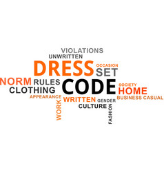 word cloud - dress code vector image