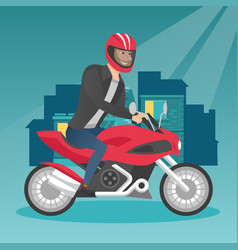 young caucasian man riding a motorcycle at night vector image