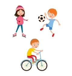 Young child boy and girl playing game vector