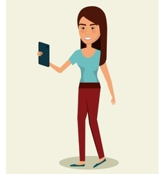 young woman using smartphone avatar character vector image