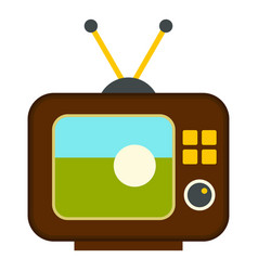 Ball on the screen of retro tv icon isolated vector