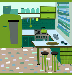 cartoon flat interior room kitchen vector image