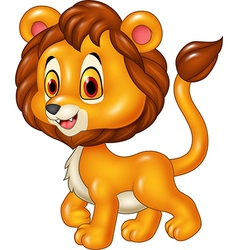 Cute baby lion walking isolated vector