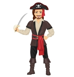 Handsome man in pirate costume holding sword vector