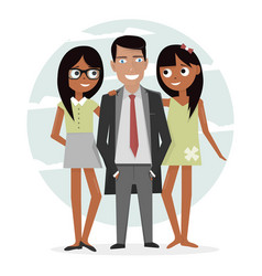 man surrounded by two beautiful girls successful vector image