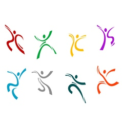 Running jumping and dancing peoples vector