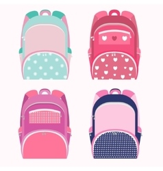 School backpacks for girl collection isolated on vector image vector image