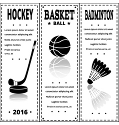 Sports black prints in retro style Set of Vintage vector image vector image