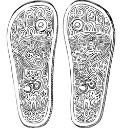 Black and white indian paduka shoes vector image