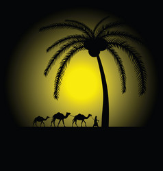 camel caravan under palm vector image