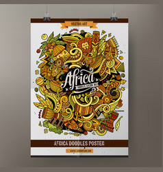 Cartoon doodles africa poster template vector