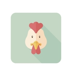 Chicken flat icon with long shadow vector image vector image
