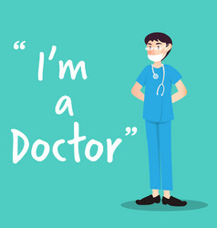 doctor character with health mask vector image vector image
