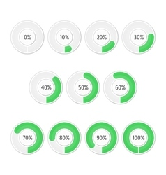 Set of green round charts vector image