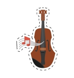 wooden fiddle instrument note music dotted line vector image