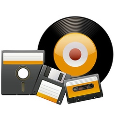 Classic disks and tapes vector image vector image