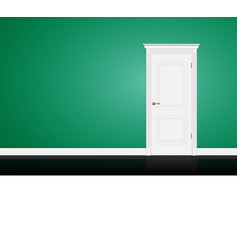 Closed white door on green wall vector image