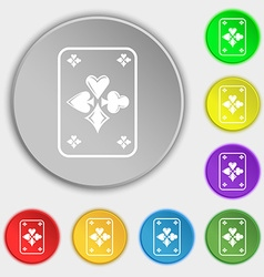 game cards icon sign Symbol on eight flat buttons vector image