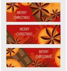 Christmas banner with orange and spices flyer vector image