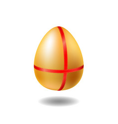 golden egg with red ribbon and shadow chicken egg vector image vector image