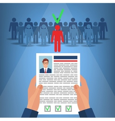 Recruitment for Business Hands Hold CV Profile vector image