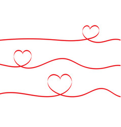 red ribbons heart isolated on white background vector image vector image