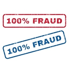 100 Percent Fraud Rubber Stamps vector