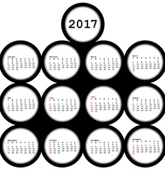 2017 black circles calendar for office vector