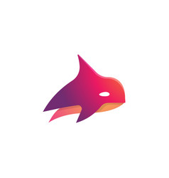Abstract red orca killer whale simple logo symbol vector