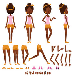 Afro american young woman character creation set vector