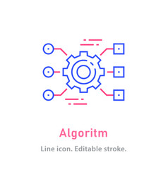 Algorithm line icon on white background editable vector