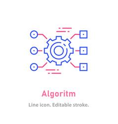 algorithm line icon on white background editable vector image