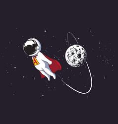 Astronaut superhero flies vector