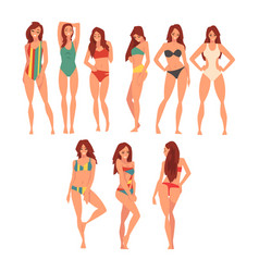 beautiful girl in different swimsuits set young vector image