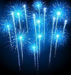 Blue fireworks vector image