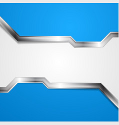 Blue grey abstract tech background with metallic vector