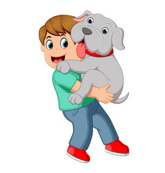 boy carrying his dog vector image