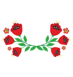 Branches poppy flowers from bright cartoon vector
