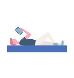 Business man lying with tablet flat style vector