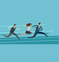 Business people run competition rivalry goal vector