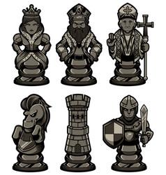 Chess pieces set black 2 vector