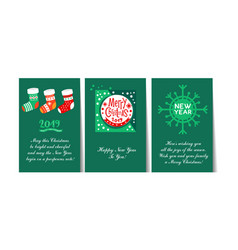 christmas and happy new year 2019 greeting cards vector image