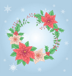 christmas wreath poinsettia flowers and holly vector image