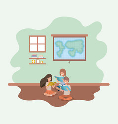 classroom with students sitting reading book vector image