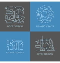 Cleaning logo elements vector image