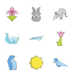 contour icons set cartoon style vector image