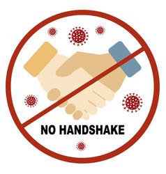 Coronavirus covid19-19 no handshake red sign vector
