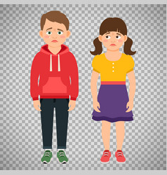 Crying kids characters on transparent background vector